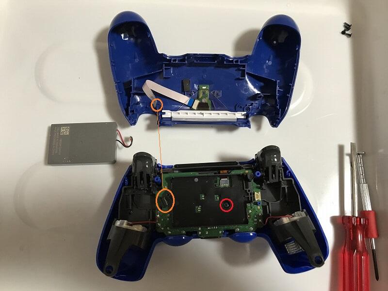 PS4コントローラー 分割する バッテリーはずす
