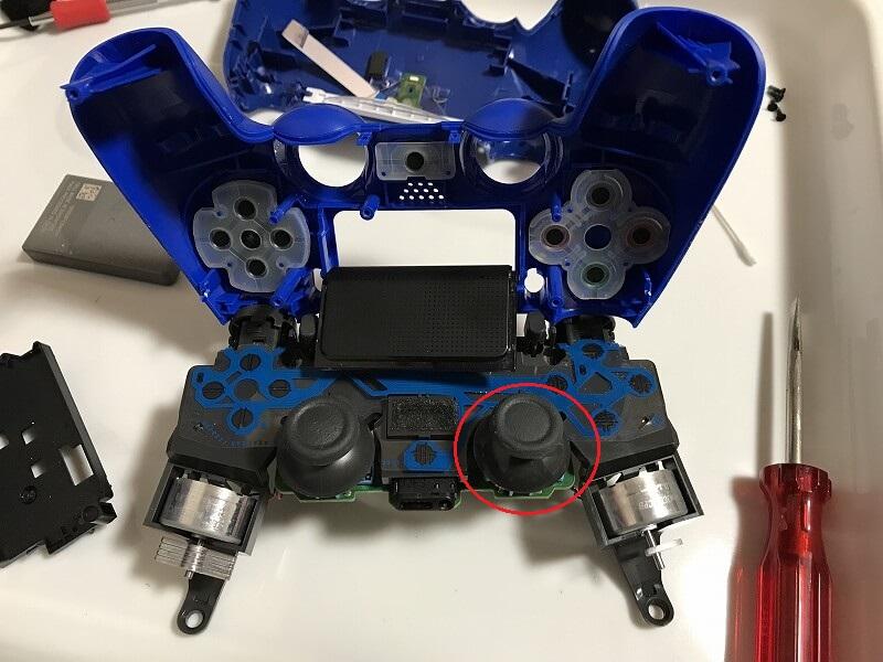 PS4コントローラー アナログスティック掃除